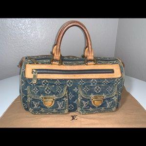 Authentic Louis Vuitton denim neo speedy satchel